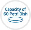 Capacity of 60 Petri Dishes
