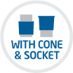 With Cone and socket