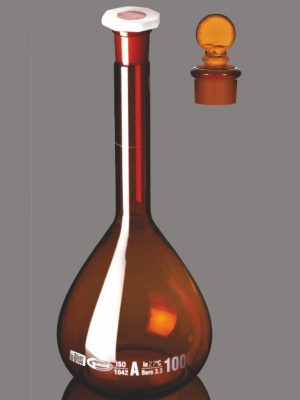 Flask, Volumetric, Amber, Class A, QR Coded with Penny Head glass & PE Stopper, Calibrated at 27°C QR.130.576.01A